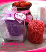 Romantic Cylindrical Rose Decorative Candle For Wedding Favor