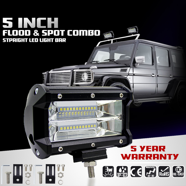 5INCH 72W Two rows wholesale car offroad led light bar