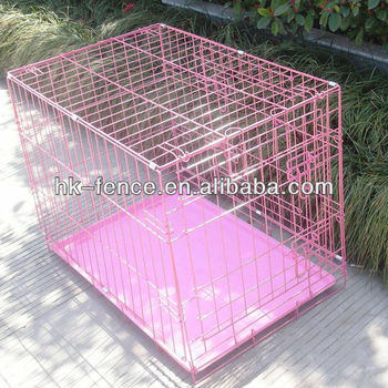 "Hot sale 42"" Pink Folding Wire Cage"