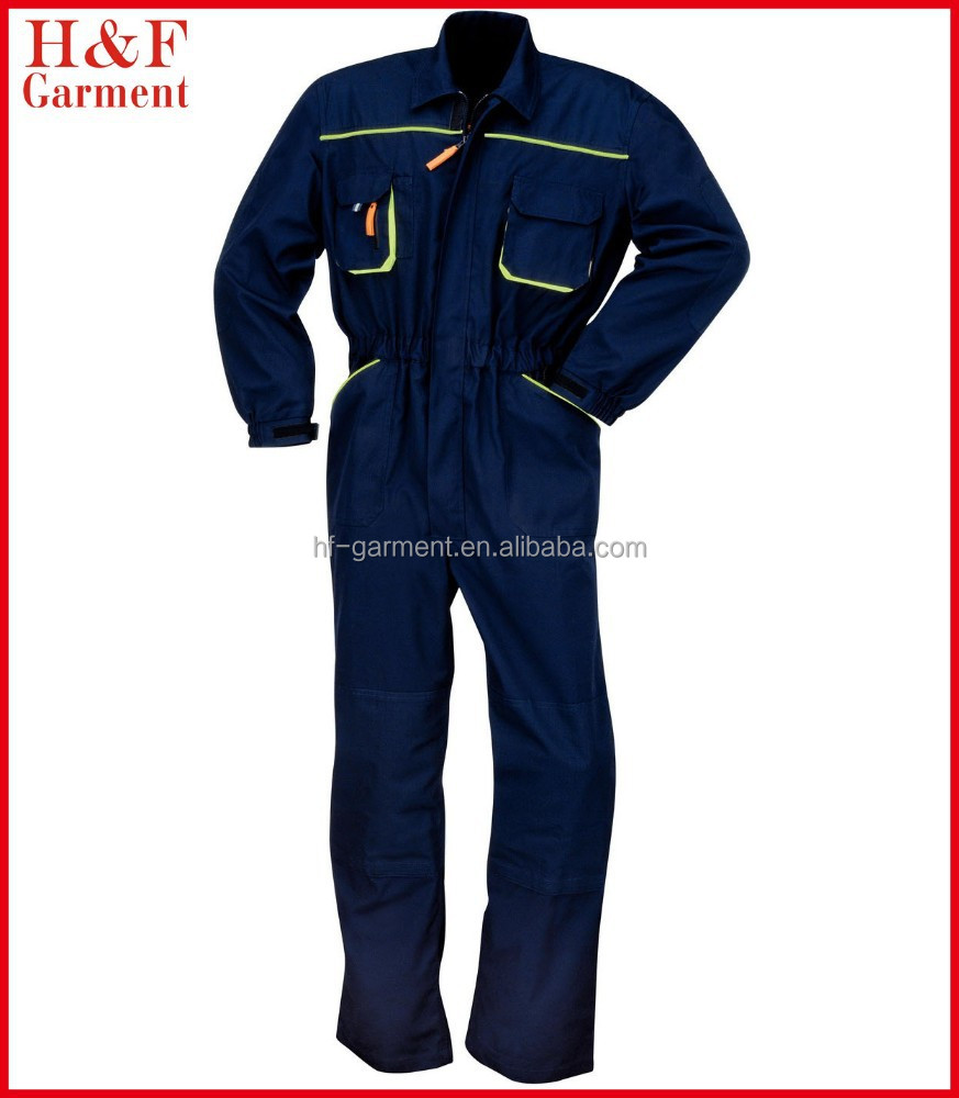 Custom coveralls made of polyester cotton canvas in navy