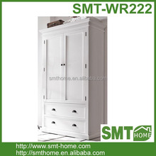 European Stylish White Wooden Double door Wardrobe Closet Design With Drawers