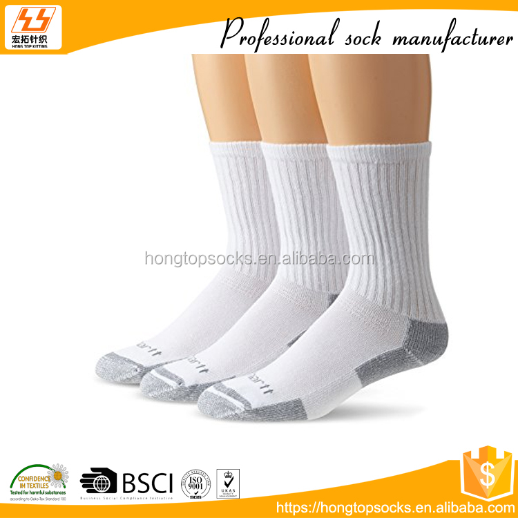 HT-C-0016 mens white cotton crew socks