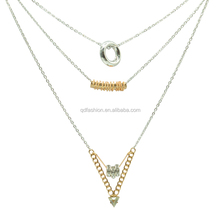 Fashion Gold Bar Circle triangle shape Pendant Chain Charm Necklace