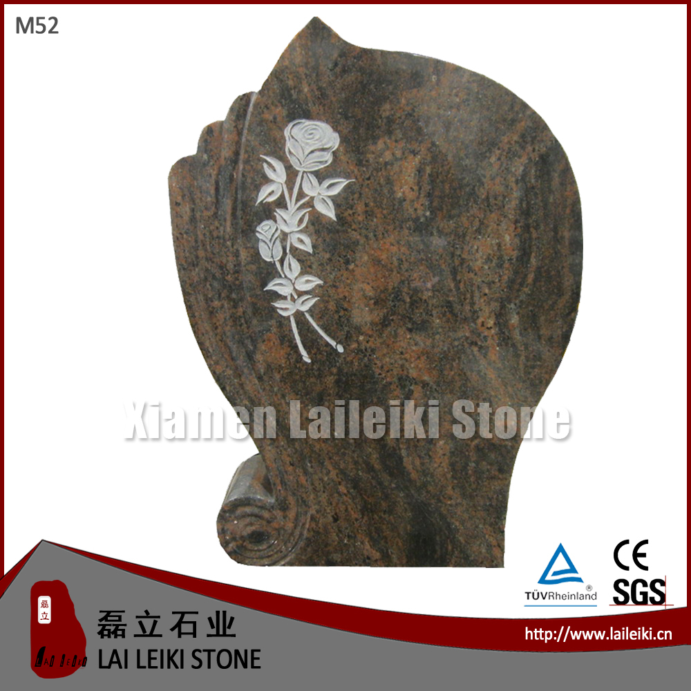 German Style Polished Granite Aurora Rose Tombstone
