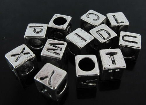 In stock Mixed European style alphabet beads letter spacer beads big hole beads