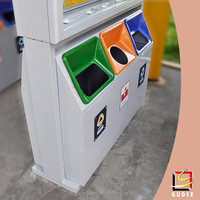 construction dustbin rectangle garbage waste bin stainless steel advertising litter bins led trash can