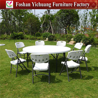 Cheap metal chair and restaurant Plastic Round Table for sale YC-T10