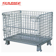 foldable galvanized portable storage cage metal box wire mesh container