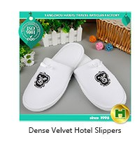 Polyester Velvet Pile Hotel Flip-flops / Black Custom Velour Anti-slip EVA Guest Flip-flops / Disposable Fleece Spa Flip-flops