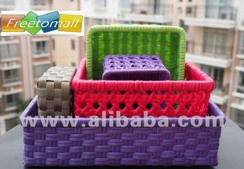 Freetomall Home & Garden plastic rattan Baskets cosmetics storage 5 pcs set