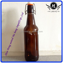 Hot sale high quality 500ml amber beer glass bottles with swing top
