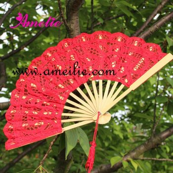 Red woven wedding lace hand fan