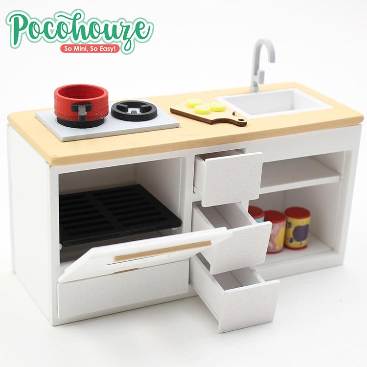 New Model Fun House Wooden Kitchen Furniture Set Diy Dollhouse Kit