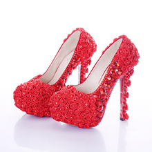 Red Super High Heel Rose Flower Bridal Dress Shoes Rhinestone Wedding Party Prom Shoes Lady Platform Heels