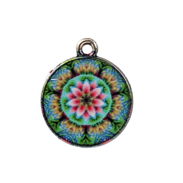 Glass Buddhism Mandala Charms Round Gold Plated Multicolor Unique Metal Pendant