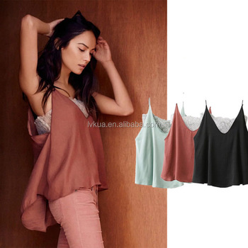 2017 Summer 3 Colors Women Fashion Comfortable Sexy Lace and Satin Camisole Tops