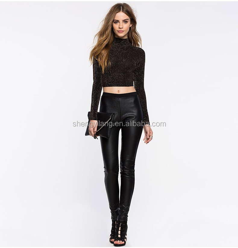 Women's PU and cotton combined elastane pencil pants sexy tight pu leather pants