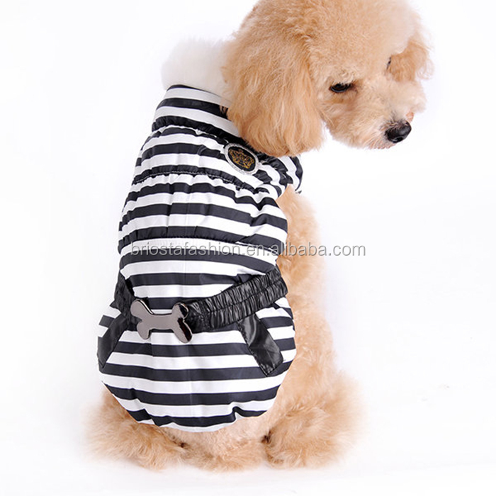 High Quality Fur Collar Stripe Pet Clothing