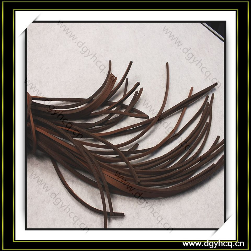 High quality 2mm thick*3mm wide black flat leather strip for bracelet bangle