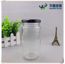 High quality 300ml 10oz cylinder pickle glass mason jar with black metal screw cap wholesale