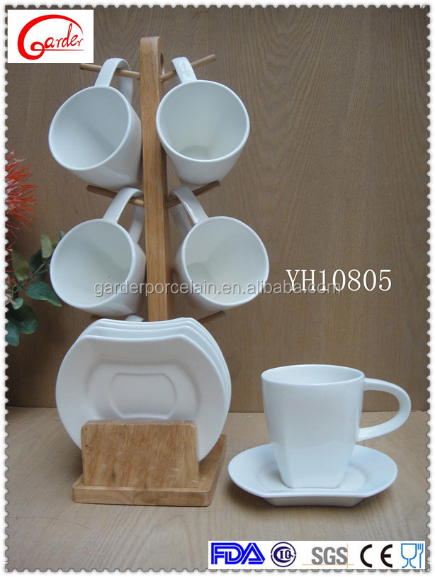 new design ceramic coffee mug set with wood rack
