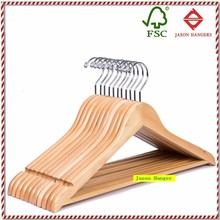 F6610 High quality solid wooden suit hanger with non-slip bar