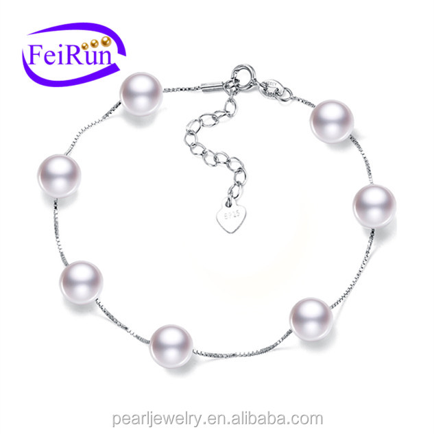 fashionable perfect round silver chain fresh water real pearl bridal bracelet