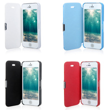 Hot Sales Magnetic Leather Flip Hard Full Case Cover Stylish Portable thin Anti-scratch Anti-dust Durable for Phone 5 5s White
