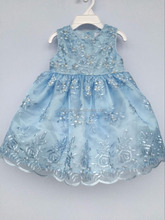 Baby girls blue embroidered organza party dress
