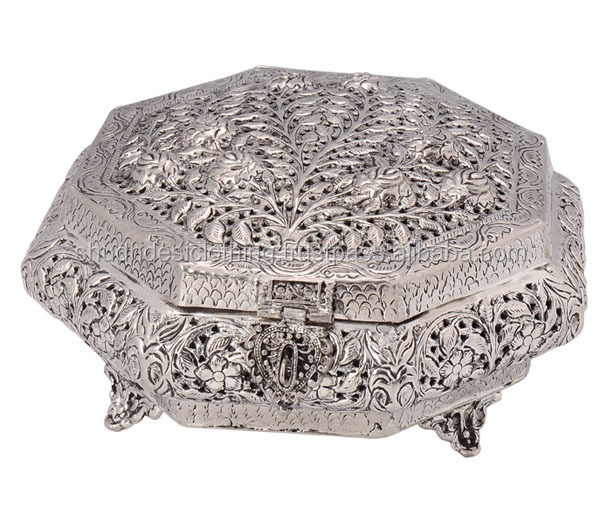 Exclusive Indian Designer German Silver Metal Supari Daans /Sweet Case/Dry Fruit Box