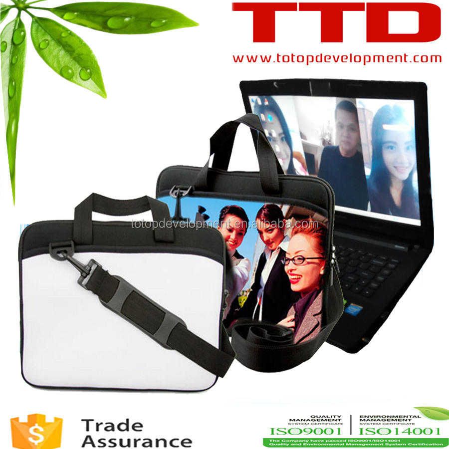13.3 inch Waterproof Sublimation handle neoprene laptop sleeve with zipper