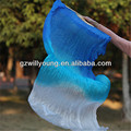 Hot Belly Dance Fans, 2PCS(Left+Right), Size 1.8*0.9M, BLUE/TURQUOISE/WHITE, High Quality Silk Fans