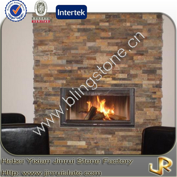 Rusty slate interior decorative stone walls for fireplace
