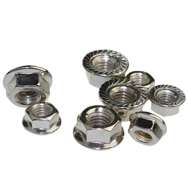 stainless sus 304 standard din6923 hex head flange self lock nuts