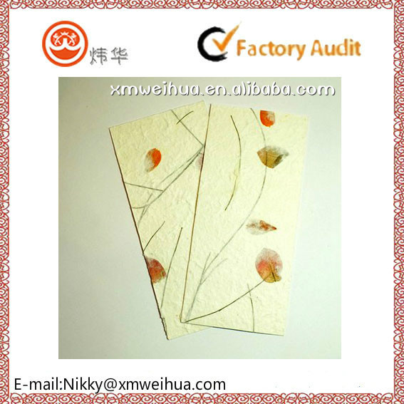 2015 customized dried flower paper card