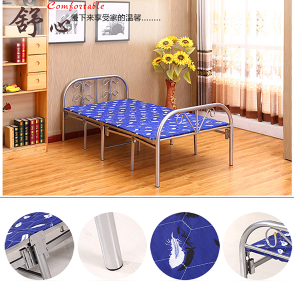 Latest modern designs single folding metal bed with mattress