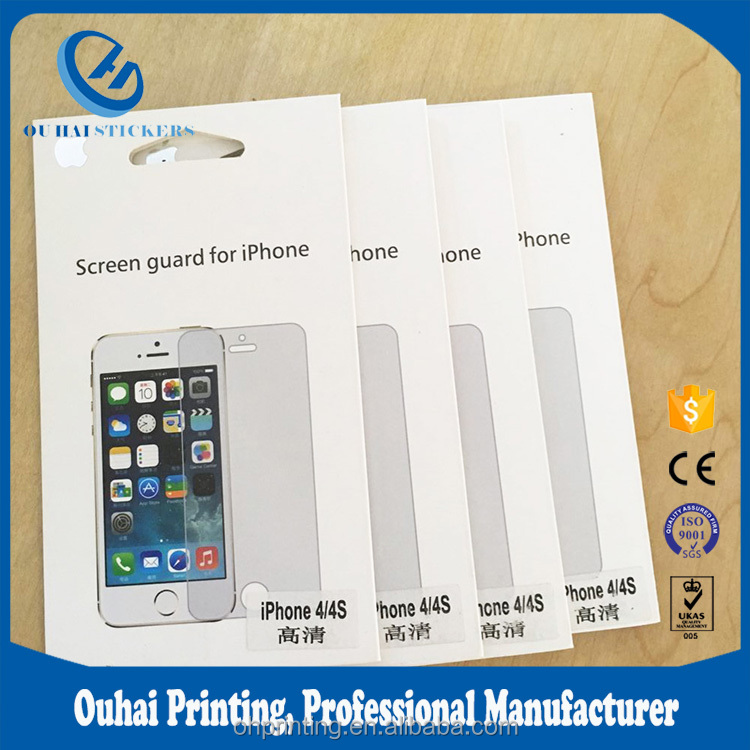 Custom design paper packaging envelope bags with hanger for mobile phone screen protector & protective films