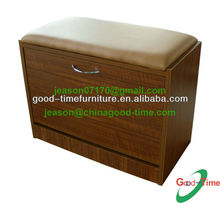 wooden shoe storage bench with PU seat