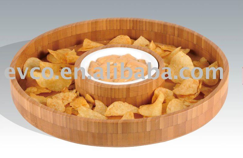 Bamboo Chip and Dip Set w/Removable Ceramic Dip Bowl