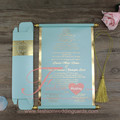 Tiffany Blue Paper Customized Gold Printed Wedding Scroll Invitations