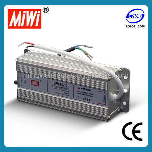 MIWI LPV-60-12 60W 12VDC 5A waterproof IP 67 LED driver