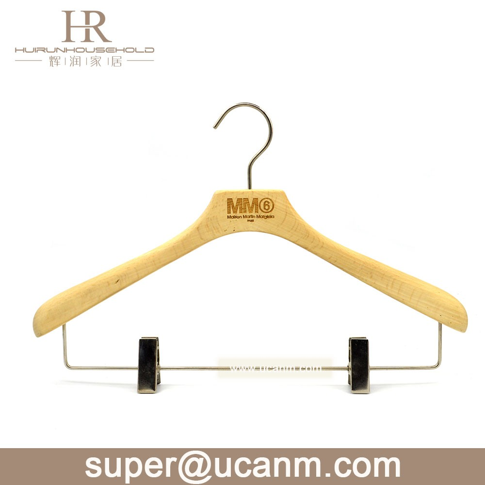 2017 Fashion Custom Engraved Logo Clothes Wooden Hanger