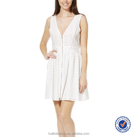 white v neck broderie zip front beautiful dress for lady