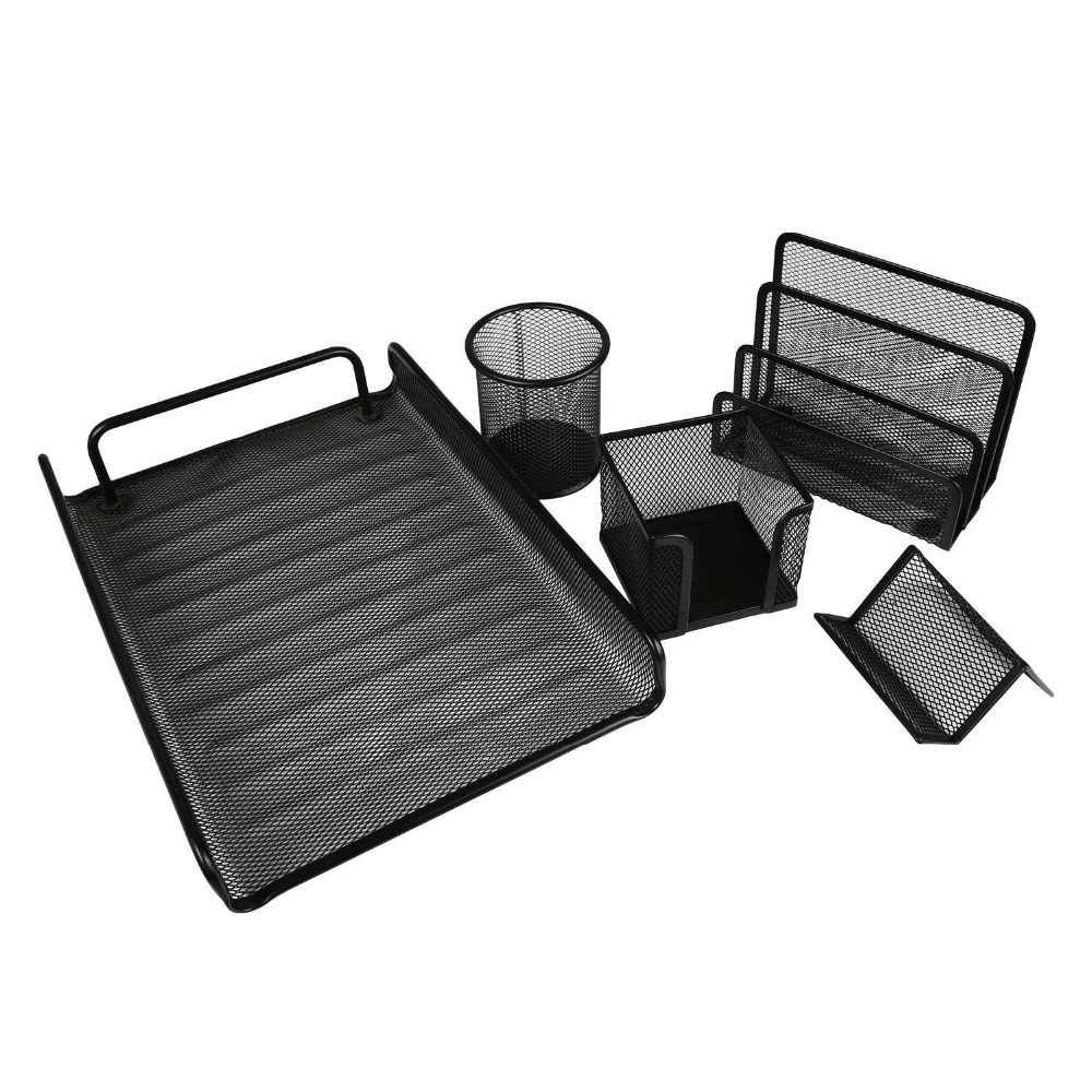 6 pieces mesh metal desk set office and school desk table stationery set