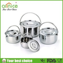 8pcs stainless steel cooking pot set with steel handle / camping pot /cookware set stainless steel