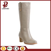 Popular Style Free Sample China Wholesale Gray Real Leather Pointed Toe Cheap Wood Heel Long Boots Girls