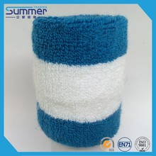 High quality cotton athlete sports pain relief stripe blue and white wrist band
