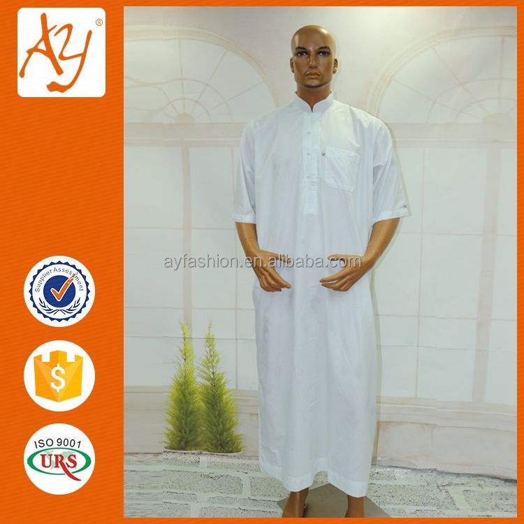 Hot sale dubai islamic clothing simple arabian tube robe jubba thobe for men