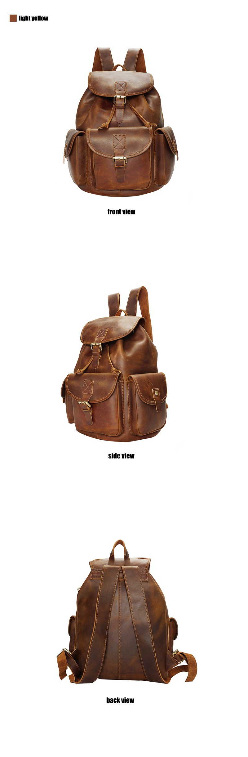 YD-8088 Famous brand design custom top grain genuine leather backpack bag for women