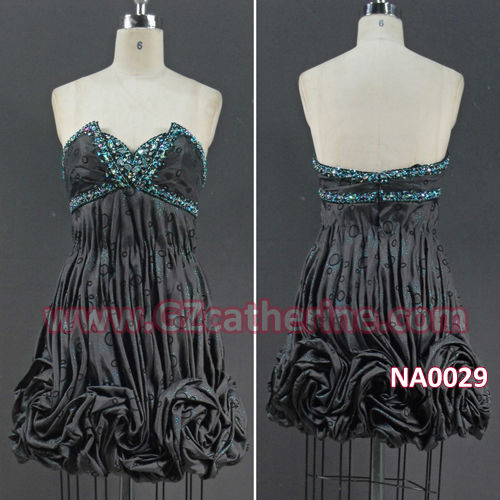 Black Beaded Strapless Back Open Evening Prom Dresses 2013